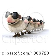 Clipart Of A 3d Flock Of Happy Sheep Wearing Sunglasses And Walking In A Line Royalty Free Illustration