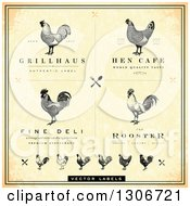 Clipart Of Vintage Distressed Styled Rooster And Chicken Cafe And Menu Designs Royalty Free Vector Illustration