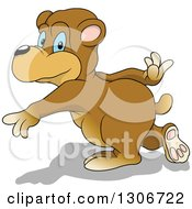 Cartoon Blue Eyed Bear Pitching Or Throwing With A Shadow