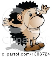 Clipart Of A Cartoon Welcoming Hedgehog Facing Right With Open Arms Royalty Free Vector Illustration by dero