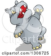 Clipart Of A Cartoon Hippo Laughing Or Falling Backwards Royalty Free Vector Illustration by dero