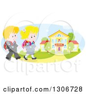 Clipart Of Cartoon Happy Caucasian School Children Walking To A Building Royalty Free Vector Illustration
