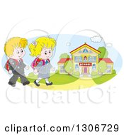Clipart Of Cartoon Happy White School Children Walking To A Building Royalty Free Vector Illustration by Alex Bannykh