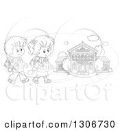Lineart Clipart Of Cartoon Black And White Happy School Children Walking To A Building Royalty Free Outline Vector Illustration