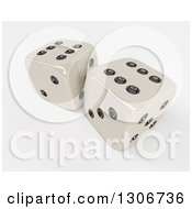 Clipart Of 3d Shiny Dice On Shaded White 3 Royalty Free Illustration by KJ Pargeter