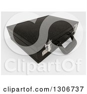 Clipart Of A 3d Closed Black Professional Briefcase On Shaded White Royalty Free Illustration