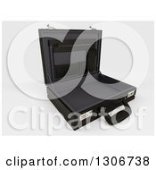 Clipart Of A 3d Open Black Professional Briefcase Tilted To The Right On Shaded White Royalty Free Illustration