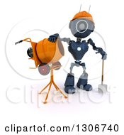 Clipart Of A 3d Blue Android Robot Construction Worker Standing By A Cement Mixer Royalty Free Illustration