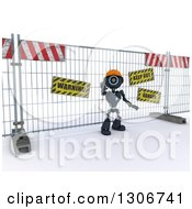 Clipart Of A 3d Blue Android Robot Construction Worker Gesturing To Stop In Front Of A Barrier Royalty Free Illustration