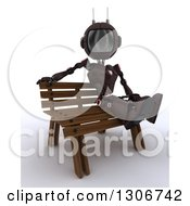 Clipart Of A 3d Red Android Robot Sitting On A Park Bench Royalty Free Illustration
