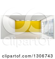 Clipart Of A 3d Empty Room Interior With Floor To Ceiling Windows Ceiling Lights And A Yellow Feature Wall Royalty Free Illustration