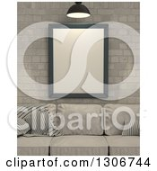 Clipart Of A 3d Beige Sofa And Blank Frame Against A Brick Wall Royalty Free Illustration
