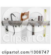 Clipart Of A 3d Rustic Wood Tool Rack On Shaded White Royalty Free Illustration by KJ Pargeter