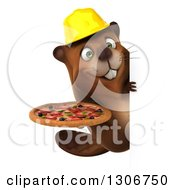 Clipart Of A 3d Happy Construction Beaver Holding A Pizza Around A Sign Royalty Free Illustration