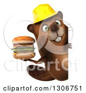 Clipart Of A 3d Happy Construction Beaver Holding A Double Cheeseburger Around A Sign Royalty Free Illustration