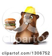 Clipart Of A 3d Happy Construction Beaver Holding A Double Cheeseburger Royalty Free Illustration
