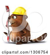 Clipart Of A 3d Happy Construction Beaver Walking To The Left With A Toothbrush Royalty Free Illustration