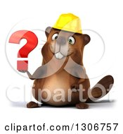 Clipart Of A 3d Happy Construction Beaver Holding A Question Mark Royalty Free Illustration by Julos