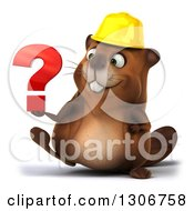 Clipart Of A 3d Happy Construction Beaver Walking And Holding A Question Mark Royalty Free Illustration by Julos
