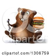 Clipart Of A 3d Happy Beaver Walking With A Wrench And A Double Cheeseburger Royalty Free Illustration