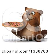 Clipart Of A 3d Happy Beaver Walking With A Pizza Royalty Free Illustration
