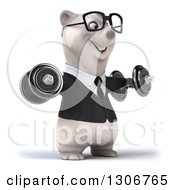 3d Bespectacled Happy Business Polar Bear Facing Slightly Right And Doing Lateral Raises With Dumbbells
