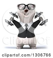 Clipart Of A 3d Bespectacled Happy Business Polar Bear Doing Shoulder Presses With Dumbbells Royalty Free Illustration