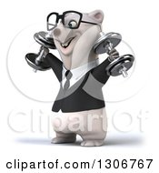 Clipart Of A 3d Bespectacled Happy Business Polar Bear Facing Left And Doing Shoulder Presses With Dumbbells Royalty Free Illustration