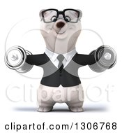 Clipart Of A 3d Bespectacled Happy Business Polar Bear Doing Lateral Raises With Dumbbells Royalty Free Illustration