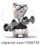 Clipart Of A 3d Bespectacled Happy Business Polar Bear Doing Bicep Curls With Dumbbells Royalty Free Illustration