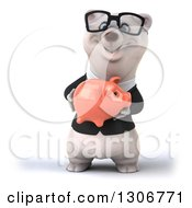 Clipart Of A 3d Bespectacled Happy Business Polar Bear Holding A Pink Piggy Bank Royalty Free Illustration