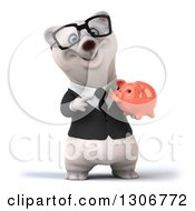 Clipart Of A 3d Bespectacled Happy Business Polar Bear Holding And Pointing To A Pink Piggy Bank Royalty Free Illustration