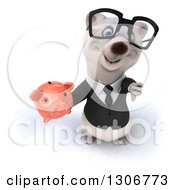 Clipart Of A 3d Bespectacled Happy Business Polar Bear Holding Up A Piggy Bank And Thumb Down Royalty Free Illustration