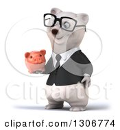 Clipart Of A 3d Bespectacled Happy Business Polar Bear Facing Slightly Left And Holding A Piggy Bank Royalty Free Illustration