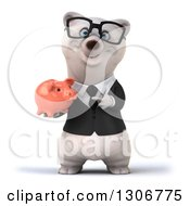 3d Bespectacled Happy Business Polar Bear Holding And Pointing To A Piggy Bank
