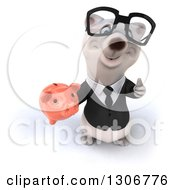 Clipart Of A 3d Bespectacled Happy Business Polar Bear Holding Up A Piggy Bank And Thumb Royalty Free Illustration