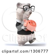 Clipart Of A 3d Bespectacled Happy Business Polar Bear Walking To The Right And Holding A Piggy Bank Royalty Free Illustration