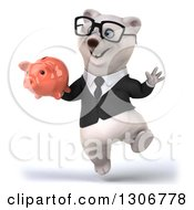 3d Bespectacled Happy Business Polar Bear Jumping And Holding A Piggy Bank