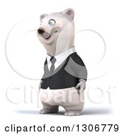 3d Happy Business Polar Bear Facing Slightly Left
