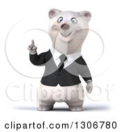 3d Happy Business Polar Bear Holding Up A Finger