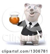 3d Happy Business Polar Bear Holding A Honey Jar
