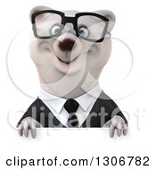 Clipart Of A 3d Bespectacled Happy Business Polar Bear Smiling Over A Sign Royalty Free Illustration