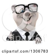 3d Bespectacled Happy Business Polar Bear Giving A Thumb Up Over A Sign