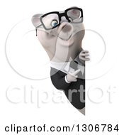 3d Bespectacled Happy Business Polar Bear Pointing Around A Sign