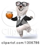 Clipart Of A 3d Bespectacled Happy Business Polar Bear Jumping And Holding A Honey Jar Royalty Free Illustration