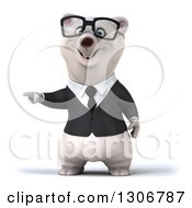 Clipart Of A 3d Bespectacled Happy Business Polar Bear Pointing To The Left Royalty Free Illustration
