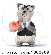 Clipart Of A 3d Bespectacled Happy Business Polar Bear Holding A Piggy Bank Royalty Free Illustration