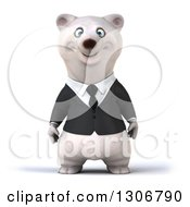 Clipart Of A 3d Happy Business Polar Bear Royalty Free Illustration