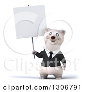 3d Happy Business Polar Bear Holding Up A Blank Sign