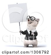 3d Bespectacled Happy Business Polar Bear Holding And Pointing To A Blank Sign